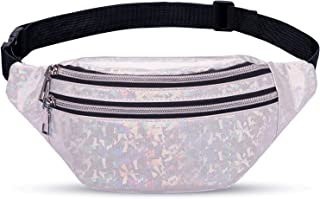 TENDYCOCO Fanny Pack Hologramm PU Cuir Shinning Sac banane pour femme Fille Argent