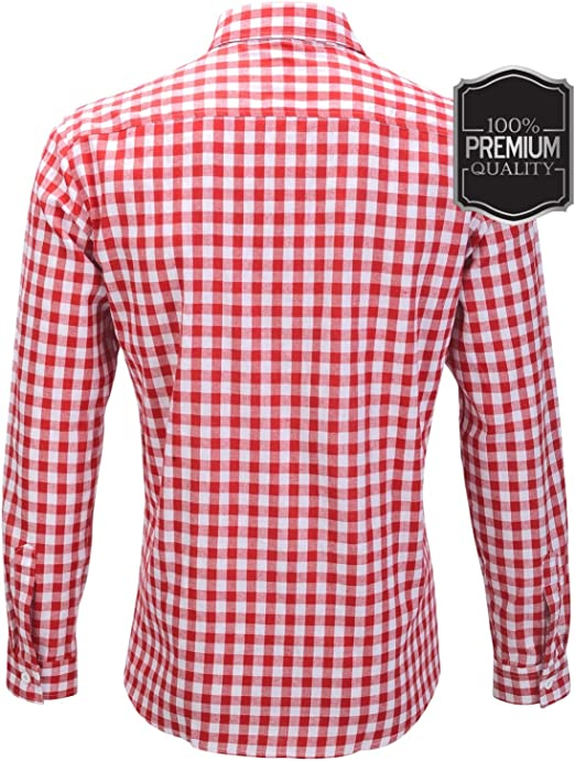 Oktoberfest Wiesn - Camisa ajustada para hombre, de algodón a cuadros, color rojo, azul y blanco