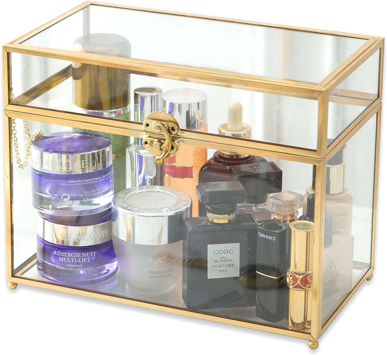 Large Dallas Mall Geometric Terrarium Max 67% OFF Gold Brass Card Glass Vintage Box Rect