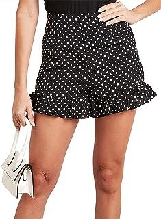 Polka Dot Ruffled Hem Flippy Shorts 80390001 For Women Closet by Styli