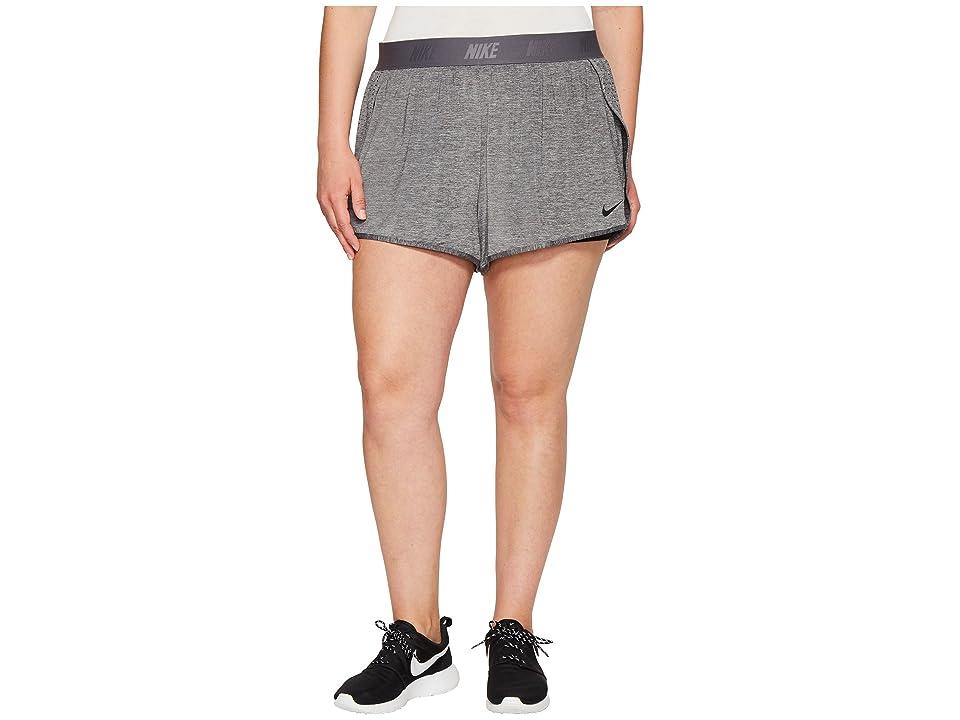 Nike Dry Training Short (Size 1X-3X) (Charcoal Heather/Black/Black) Women