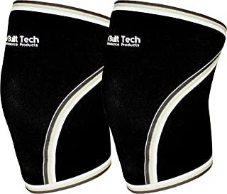 RAW Built Tech Pair of Professional Quality 7mm Neoprene Knee Sleeves - Best for Squats, WODs, Powerlifting, Weight Lifting, Fitness, and Crossfit Training - Mens/Women Compression Knee Wrap Brace