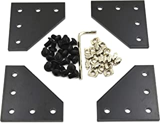 Befenybay 4PCS/Set Corner Bracket Plate with 20PCS M5x8mm Screws and 20PCS M5 T Nuts, 5-Hole Tee Outside Joining Plate for 2020 Series Aluminum Profile 3D Printer Frame (Black L)