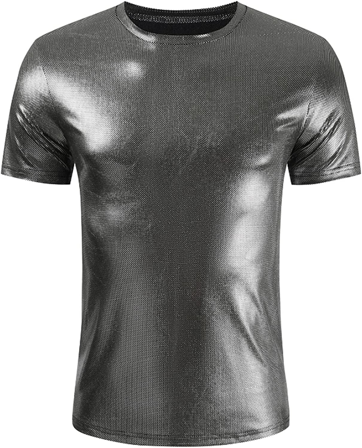 FUNEY Men's Hipster Shiny Metallic Tshirt Short Sleeve V-Neck Slim Fit Muscle Smooth Pullover Tops Clubwear for Nightclub