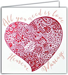 Square Red Glitter Happy Wedding Card All you need is love Big Heart