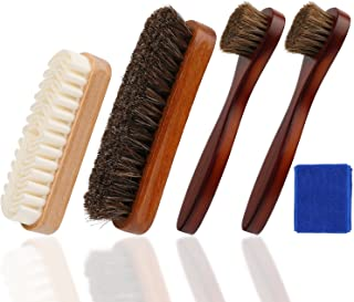Cepillo de brillo del zapato,Cepillo para gamuza, Aplicador para zapato, cerdas y crin suave para zapatos, paño de cuero, bolso, regalo perfecto e ideal para hombres o mujeres