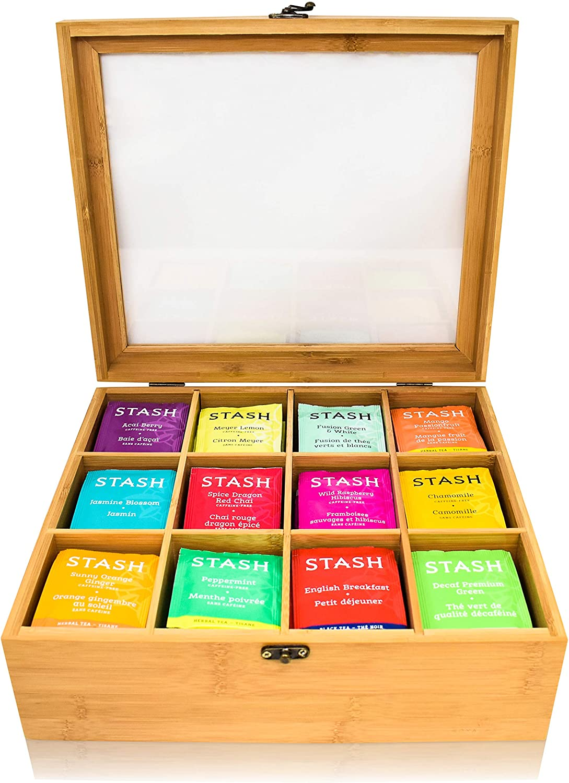 RoyalHouse Natural Bamboo Tea Bag Organizer Box, Organizers and Storage, Drawer Organizer Tea Box, 12 Compartments