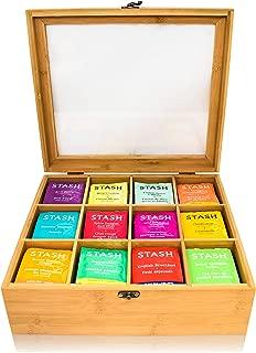 Natural Bamboo Tea Bag Organizer Box,Organizers and Storage Royal House Drawer Organizer Tea Box -12 Compartments
