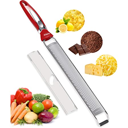 Chocolate Ourokhome Stainless Steel Lemon Zester- Handheld Kitchen Cheese Grater for Parmesan Cheese Citrus with Cleaning Brush Ginger Black Fruits Nuts Coconut