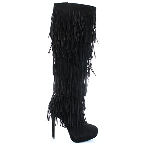 10c2086059 Urban Heels Women's Karissa Faux Suede Leather High Heel Fringe Boots