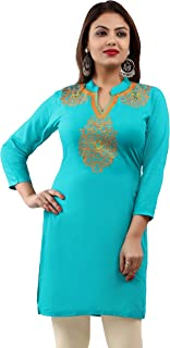 Maple Clothing Rayon Black Embroidered Women's Indian Kurti Tunic Top Blouse