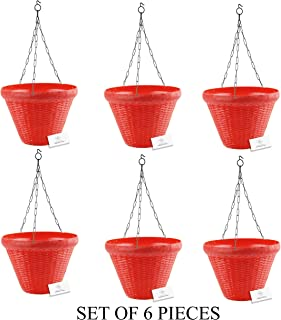 Unique Plastic Hanging Pot with Metal Chain (Red, Pack of 6)