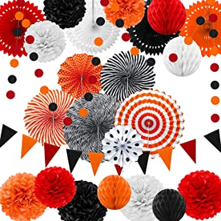 25 Pieces Party Decorations Paper Fans Pom Poms Flowers Garlands String Circle Dot Triangle Bunting Flags Honeycomb Ball Party Supplies for Christmas Birthday Wedding Baby Shower (Orange Black White)