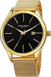 Akribos XXIV AK959 Designer Men's Watch – Classic and Casual Round Stainless Steel Mesh Fashion Bracelet Wristwatch