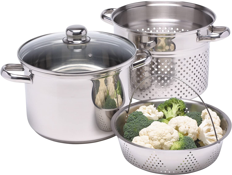 KitchenCraft World of Flavours - Olla para Pasta con Colador y Cesta para Verdura al Vapor, Caja Regalo, Apta para Inducción, Acero Inoxidable, 4L