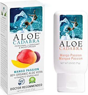 Flavored Personal Lubricant Organic, Natural Mango Passion Lube for Anal Sex, Oral, Women, Men & Couples, 2.5 Ounce Aloe C...