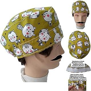 Cappello chirurgico GATTINI per Capelli Corti UOMO chirurgo dentista vet cuoco Assorbente sulla fronte Regolazione posteri...