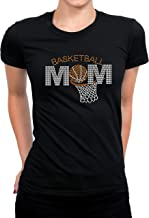 Basketball Rhinestones Bling Shirt Women's, Bling Top Basketball MOM, Tee for Girl, Mom Basketball Bling Top Black