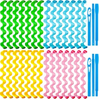مجموعة أدوات تصفيف الشعر من ويف كيرل فورمرز، فلامنغو بدون حرارة للشعر المتوسط إلى الطويل، مجموعة أدوات تصفيف الشعر مع خطاف...