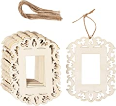 Genie Crafts 12-Pack Unfinished Wood Frame Cutout - 4.3 x 5.8-Inch Mini Wood Photo Frame with Jute Ropes, for DIY Craft, Home Decoration