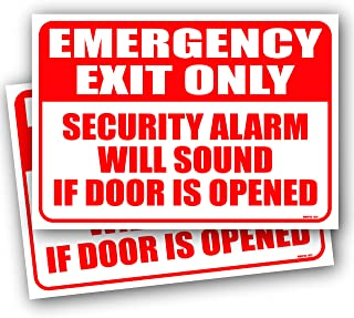 (2 Pack) Emergency Exit Only Alarm Will Sound Sign 10