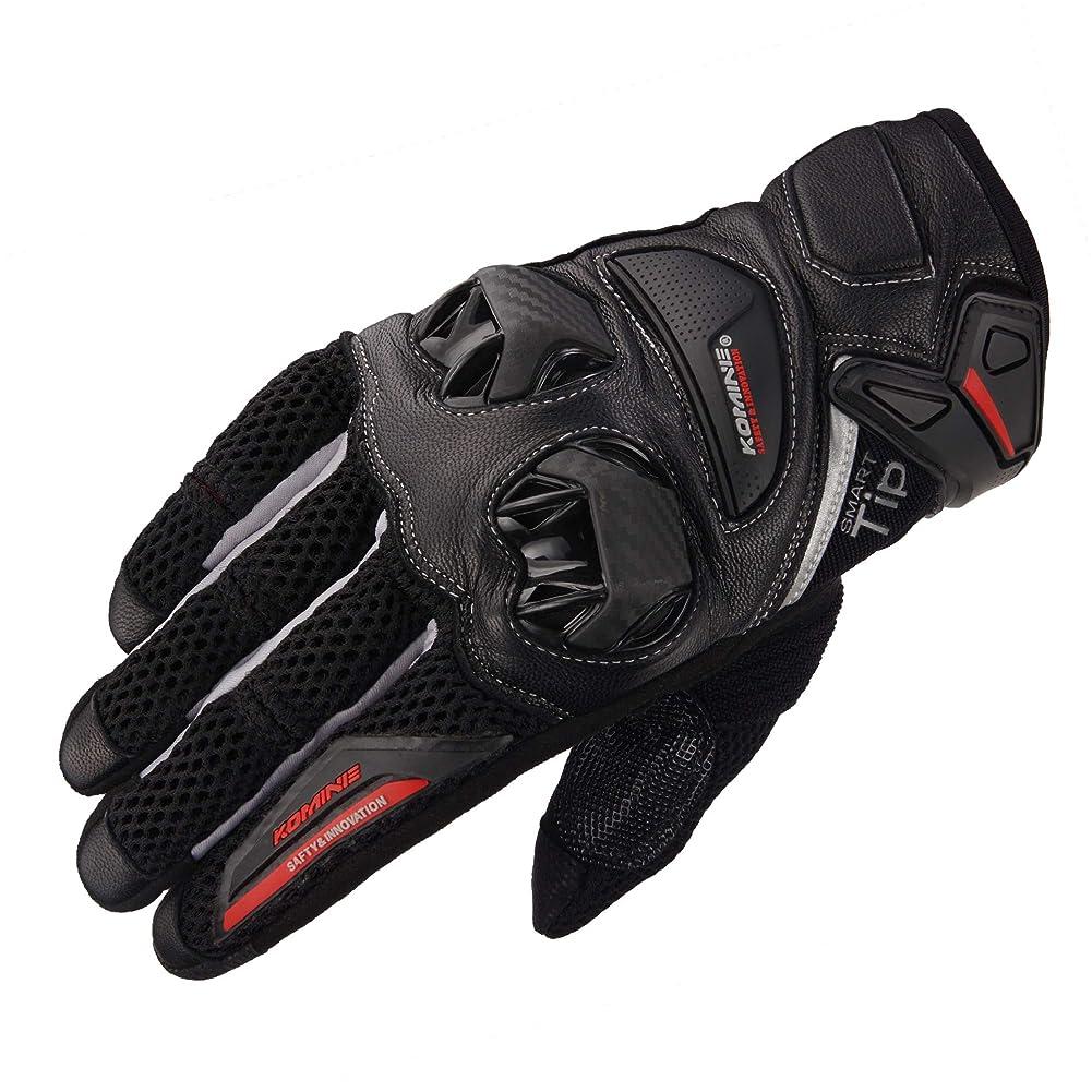 フィット慣れているサラミコミネ KOMINE バイク プロテクト レザー メッシュ グローブ プロテクター スライダー 通気性 革 本革 Black/Silver 2XL GK-234 06-234
