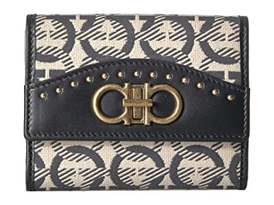 Salvatore Ferragamo Embroidered Wallet (Beige/Nero) Handbags