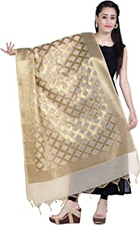 Women's Handwoven Tussar Gold Zari Work Indian Etnic Banarasi Dupatta Stole Scarf(D117)