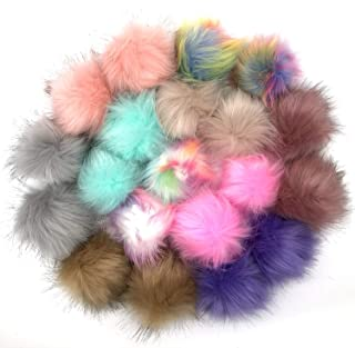 Anvin 20 Pcs Faux Fox Fur Fluffy Pompom Balls for Hats Shoes Scarves Bags Charms Gloves Keychains(10 Mix Classic Colors, 2...