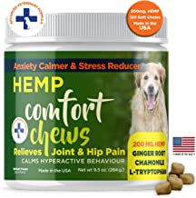 Hemp Oil Dog Calming Treats Organic Natural Dog Treats Made In The USA Formulated For Composure & Dog Anxiety Relief From Stress Fireworks Thunder Separation Motion Sickness Ginger & Omega 3