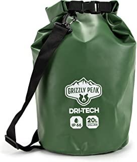 Grizzly Peak Dri-Tech Waterproof Dry Bag,  IP 66 Lightweight Roll-Top Sack with Adjustable Straps – Backpack for Protecting Valuables & Belongings for Camping & Outdoor Activities