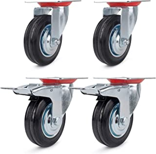Lenkrollen für Möbel Transportrollen Möbelrollen Laufrolle , Ø160mm ,4 Stück Set(2 Stück Lenkrollen mit Bremse, 2 Stück ohne Bremse),Tragkraft 405 kg