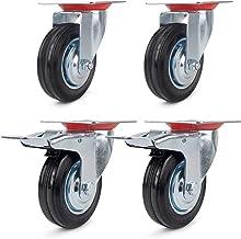 2 zwenkwielen 100 mm + 2 zwenkwielen met rem, 100 mm, transportwielen, zware belasting, plaatstaal, verzinkt 70 kg/R