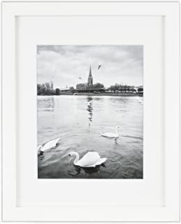 Golden State Art, 11x14 White Wood Frame, White Mat for 8x10 with Real Glass