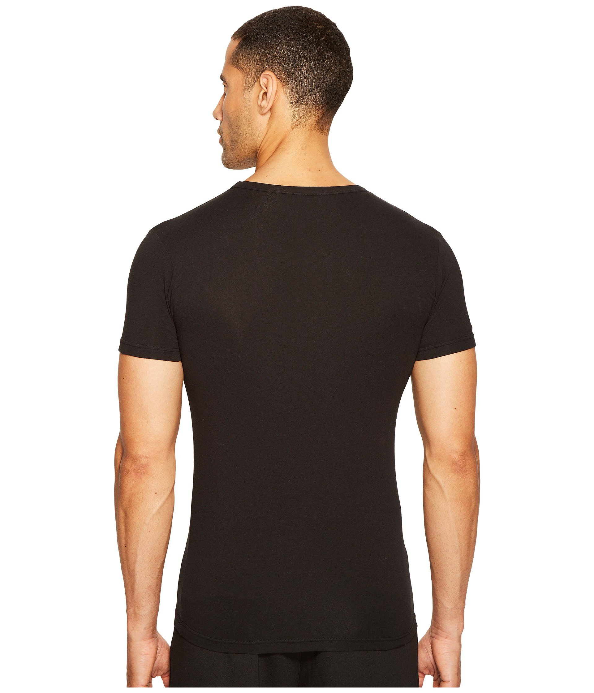 Stretch Tee Emporio Armani Cotton V Black neck XBn8wzS5n