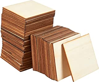 Unfinished Wood Pieces - 60-Pack Wooden Squares Cutout Tiles, Natural Rustic Craft Wood for Home Decoration, DIY Supplies
