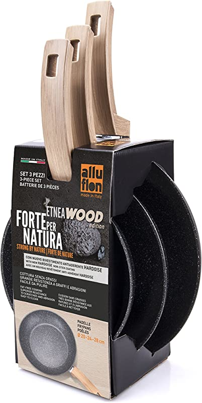 ALLUFLON Etnea Wood Edition Set Of 3 Frying Pans Aluminium Black 20 Cm 24 Cm 28 Cm