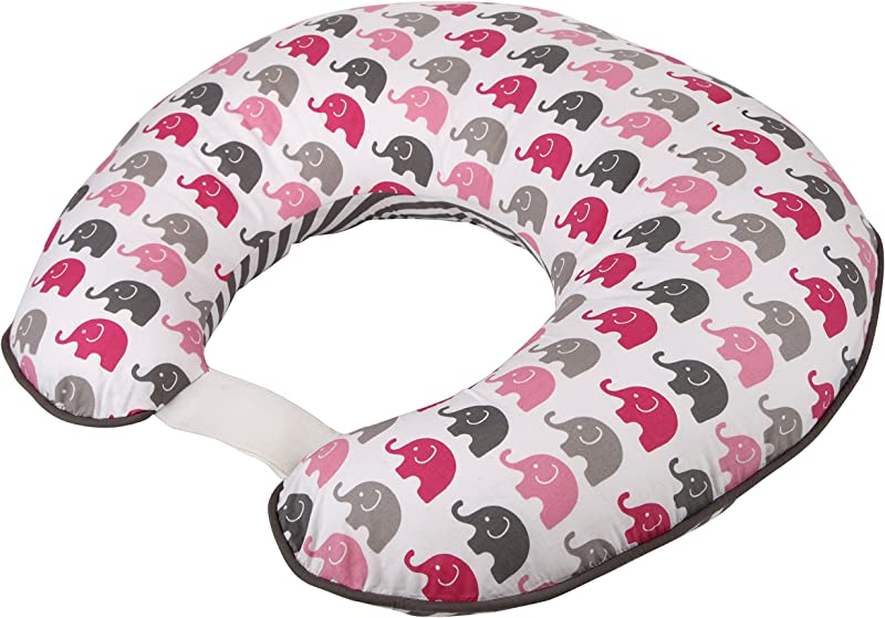 Elephants Pink Grey Nursing Pillow Cover