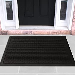 Sweet Home Stores Rubber Collection Multi-Purpose Anti-Slip Indoor/Outdoor Rubber Mat, 24'' X 36'', Black