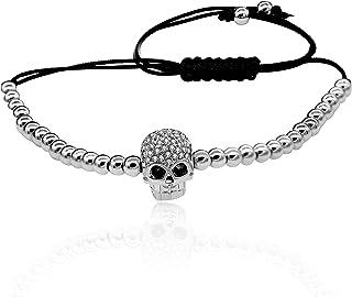 Uloveido Brass Ball Skull Bracelets for Women Black Rape Adjustable Handmade Knot Bracelet YB003