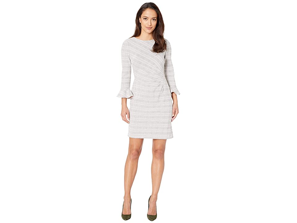 LAUREN Ralph Lauren Petite Daria 167F Retro Knit Plaid Day Dress (Cream/Pink/Multi) Women