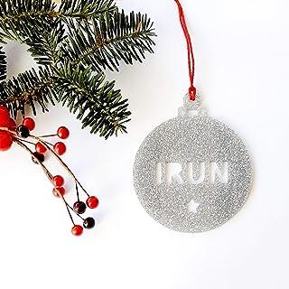 Bolas de Navidad con nombre troquelado de metacrilato glitter personalizadas ornamento para el árbol de Navidad