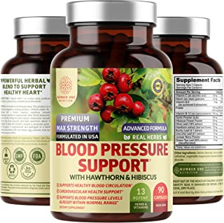N1N Premium Blood Pressure Support with Hawthorn and Hibiscus [13 Potent Ingredients], Natural Hypertension Supplement to ...