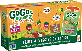 GoGo squeeZ Fruit & VeggieZ on the Go, Variety Pack (Pear/Berry), 3.2 Ounce (12 Pouches), Gluten Free, Vegan Friendly, Unsweetened, Recloseable, BPA Free Pouches (Packaging May Vary)