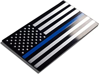 Aluminum Thin Blue Line Decal Blue Lives Matter Sticker Emblem | In Support of Police Officers and Law Enforcement