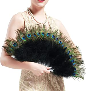 BABEYOND Roaring 20s Vintage Style Peacock & Black Marabou Feather Fan Flapper Accessories