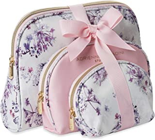 Adrienne Vittadini Cosmetic Makeup Bags: Compact Travel Toiletry Bag Set in Small, Medium and Large for Women and Girls - Floral Pink