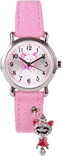 Wolfteeth Grade School Girls Analog Wrist Watch with Pendant on Watchband Water Resistant Outdoor Sport Watch 3086