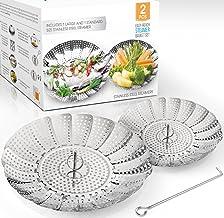 Two-Pack (Large and Standard) Vegetable Steamer Basket Set – Steamer Inserts for..