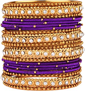 Archi Collection Fashion Fancy Traditional CZ Pink Silk Thread Bangle Set Jewellery (20 pc)